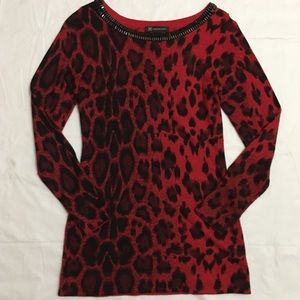 INC Animal Print Beaded Red Black Sweater Small